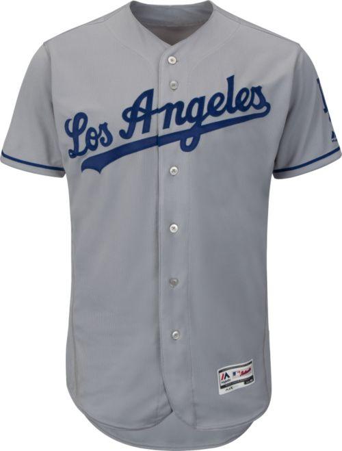 a150c13b360 Majestic Men s Authentic Los Angeles Dodgers Road Grey Flex Base On-Field  Jersey. noImageFound. Previous. 1. 2