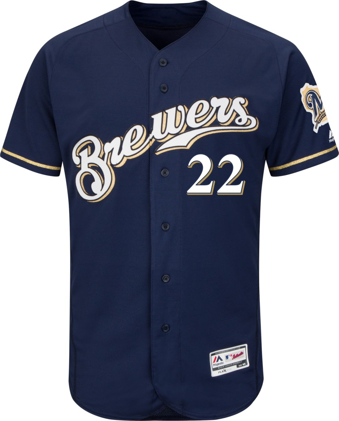 1e9f9b2c9d6 Majestic Men s Authentic Milwaukee Brewers Christian Yelich  22 Flex Base  Alternate Home Navy On-