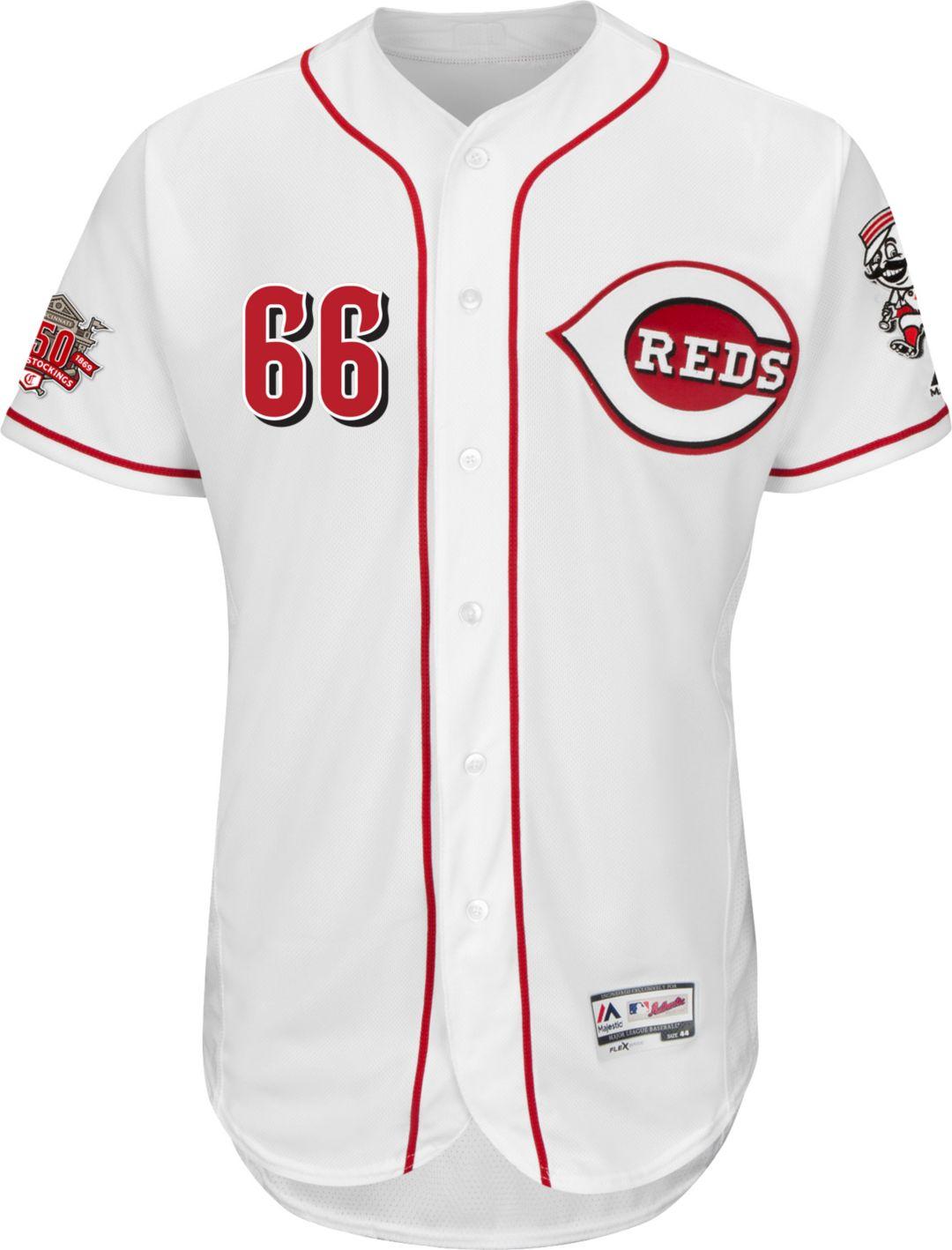 16a31a94b Majestic Men s Authentic Cincinnati Reds Yasiel Puig  66 Flex Base Home  White On-Field
