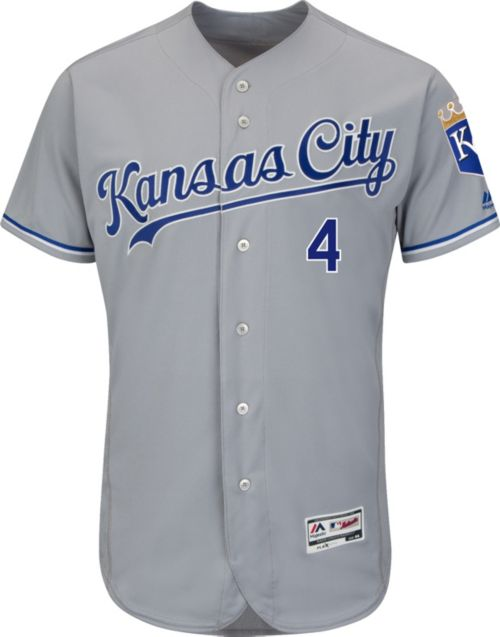 34370ad4647 Majestic Men s Authentic Kansas City Royals Alex Gordon  4 Road Grey Flex  Base On-Field Jersey