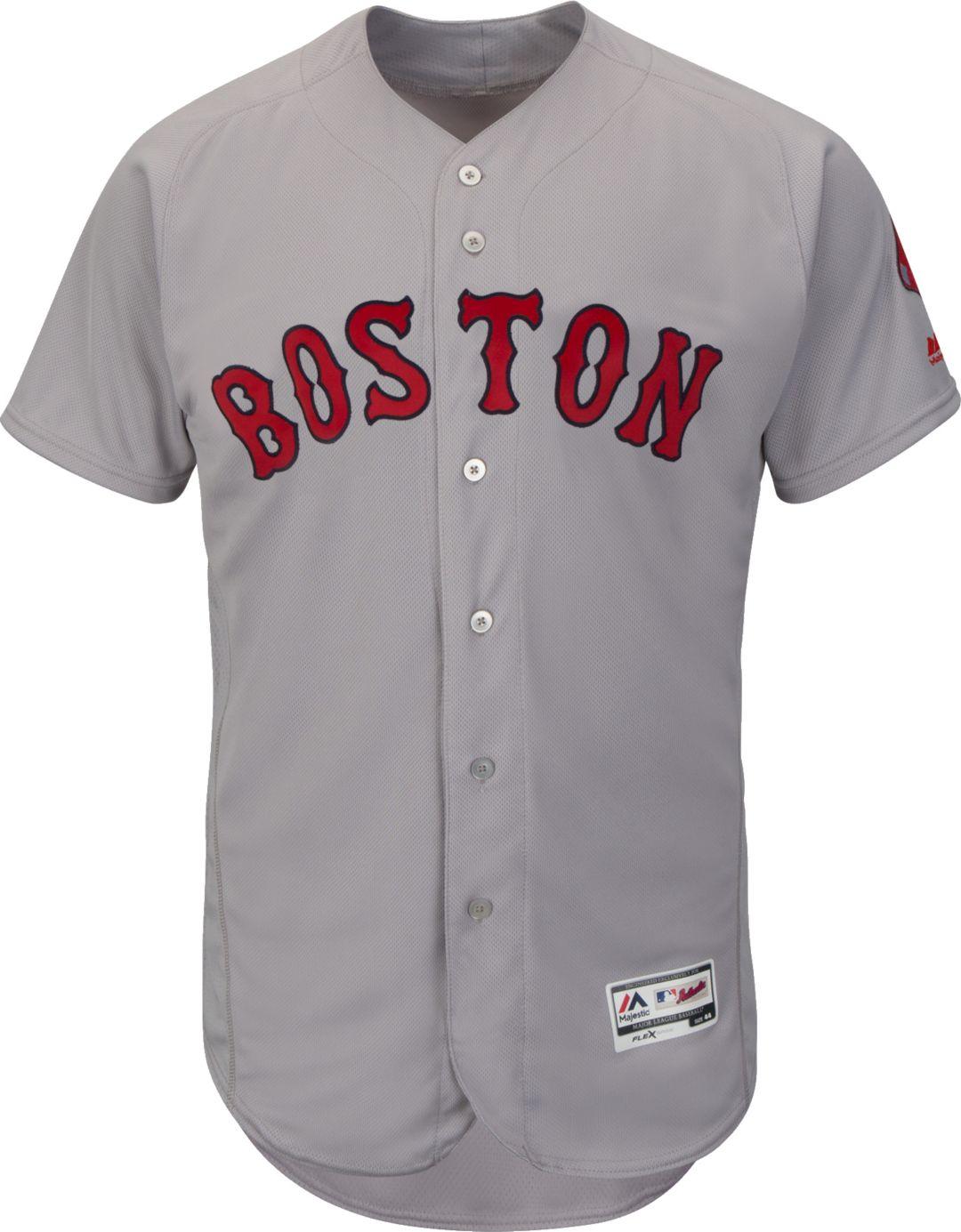best service 17bd5 4c536 Majestic Men's Authentic Boston Red Sox Road Grey Flex Base On-Field Jersey