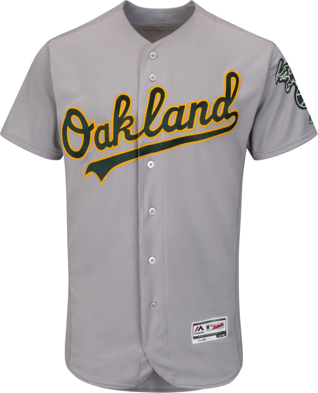 d70a23d1 Majestic Men's Authentic Oakland Athletics Road Grey Flex Base On ...