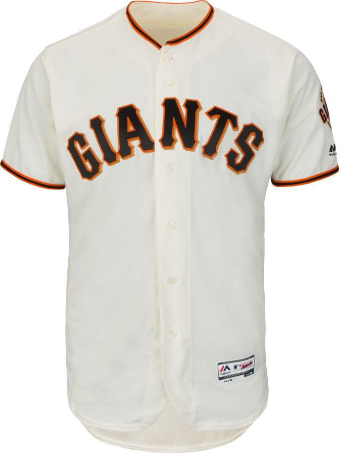 new product 8211c 00efc Majestic Men's Authentic San Francisco Giants Brandon Crawford #35 Home  Ivory Flex Base On-Field Jersey
