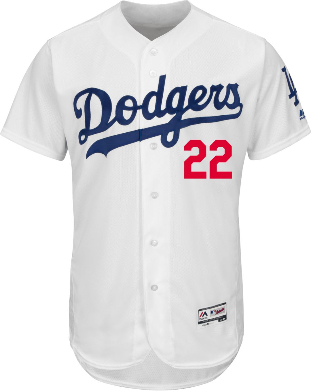 san francisco 2dacd cc40a Majestic Men's Authentic Los Angeles Dodgers Clayton Kershaw #22 Home White  Flex Base On-Field Jersey