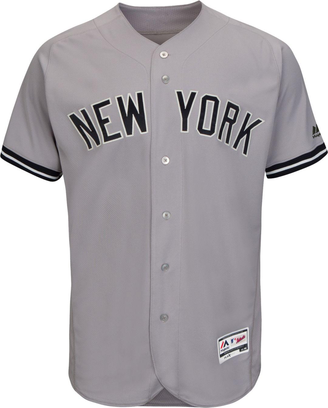 newest 984c2 31120 Majestic Men's Authentic New York Yankees Didi Gregorius #18 Road Grey Flex  Base On-Field Jersey