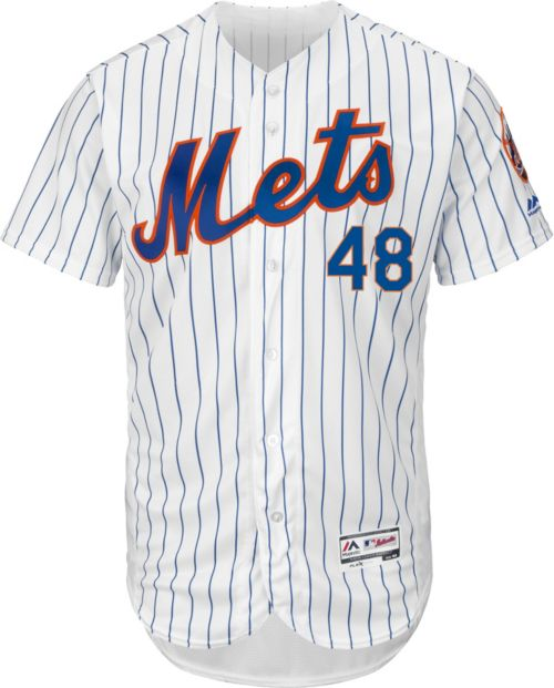 82360684e Majestic Men s Authentic New York Mets Jacob deGrom  48 Home White Flex  Base On-Field Jersey