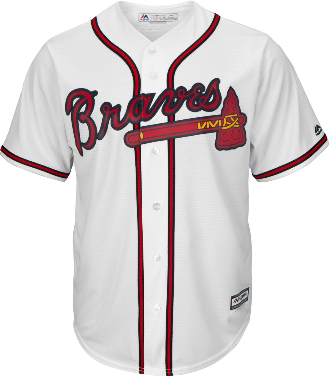 size 40 841ae 379a7 Majestic Men's Replica Atlanta Braves Ozzie Albies #1 Cool Base Home White  Jersey
