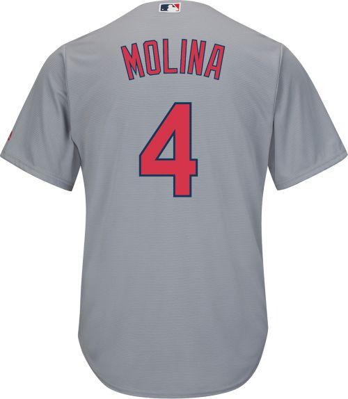 Majestic Men s Replica St. Louis Cardinals Yadier Molina  4 Cool Base Road  Grey Jersey. noImageFound. Previous. 1. 2. 3 745536175