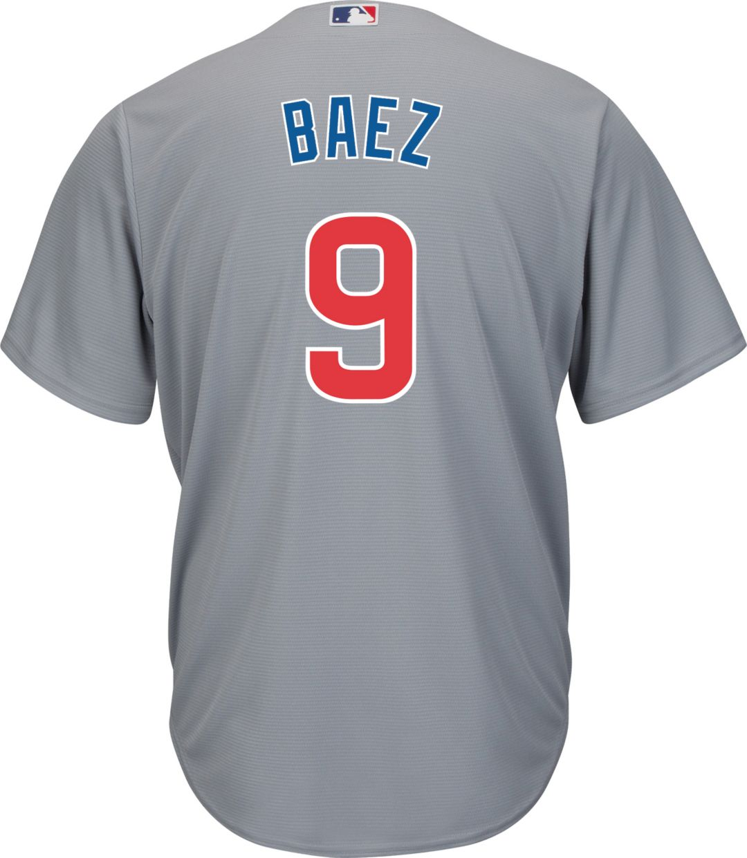 9743823f Majestic Men's Replica Chicago Cubs Javier Baez #9 Cool Base Road Grey  Jersey. noImageFound. Previous. 1. 2. 3