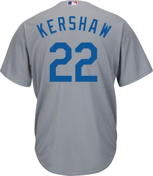 e4cb23fdee1 Majestic Men s Replica Los Angeles Dodgers Clayton Kershaw  22 Cool Base  Alternate Road Grey Jersey. noImageFound. Previous. 1. 2. 3