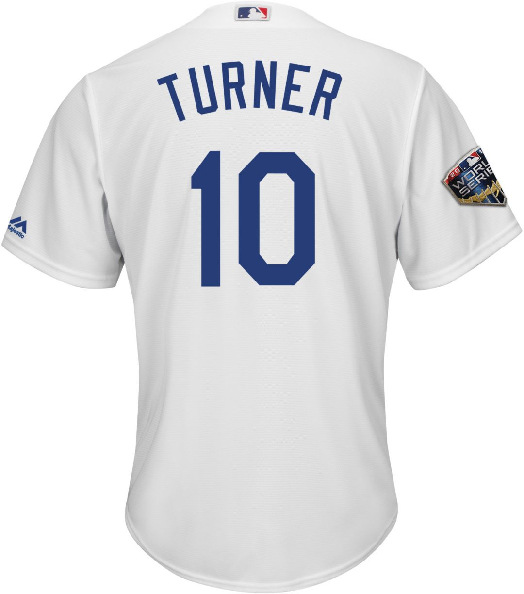 finest selection 84763 73124 Majestic Men's 2018 World Series Replica Los Angeles Dodgers Justin Turner  Cool Base Home White Jersey