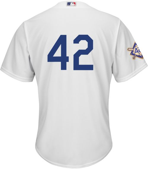 e7a11adbd Majestic Men s Replica Los Angeles Dodgers  42 Cool Base Home White ...
