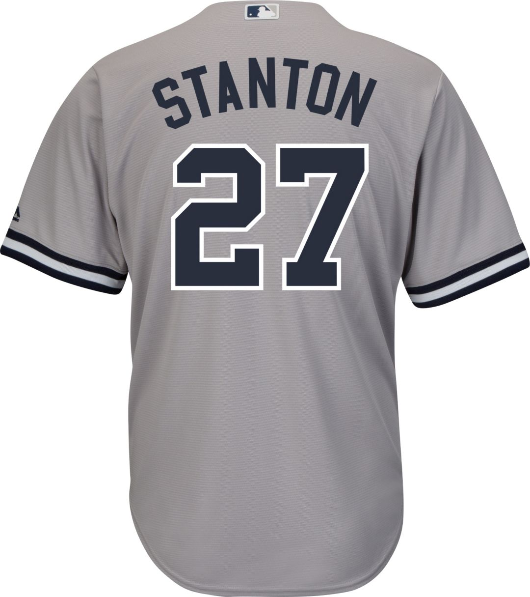 sports shoes 2d564 7ae95 Majestic Men's Replica New York Yankees Giancarlo Stanton #27 Cool Base  Road Grey Jersey