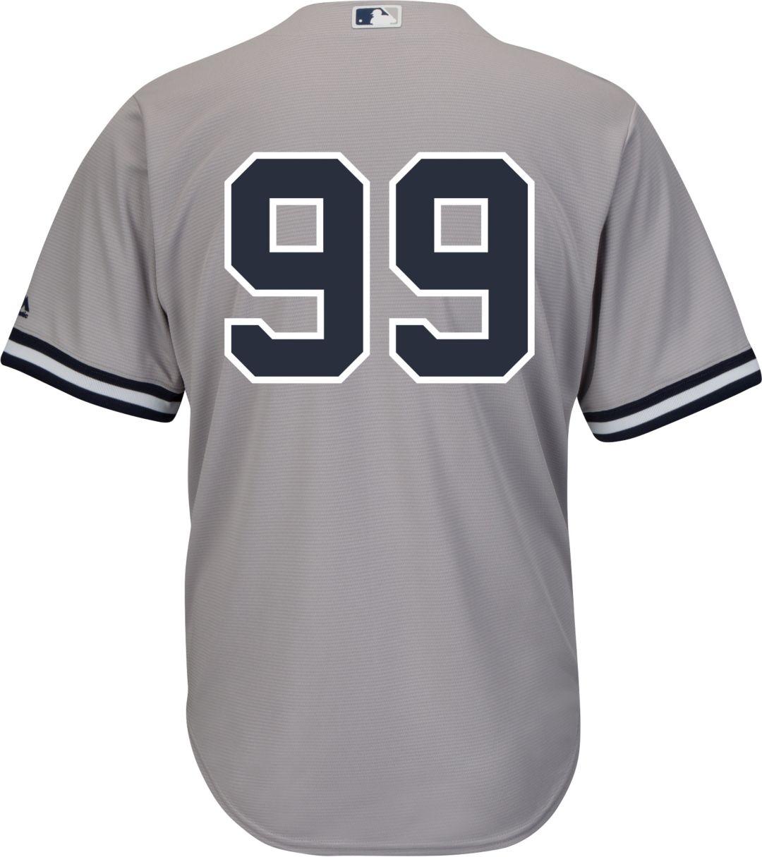 hot sales d5290 96bab Majestic Men's Replica New York Yankees Aaron Judge #99 Cool Base Road Grey  Jersey