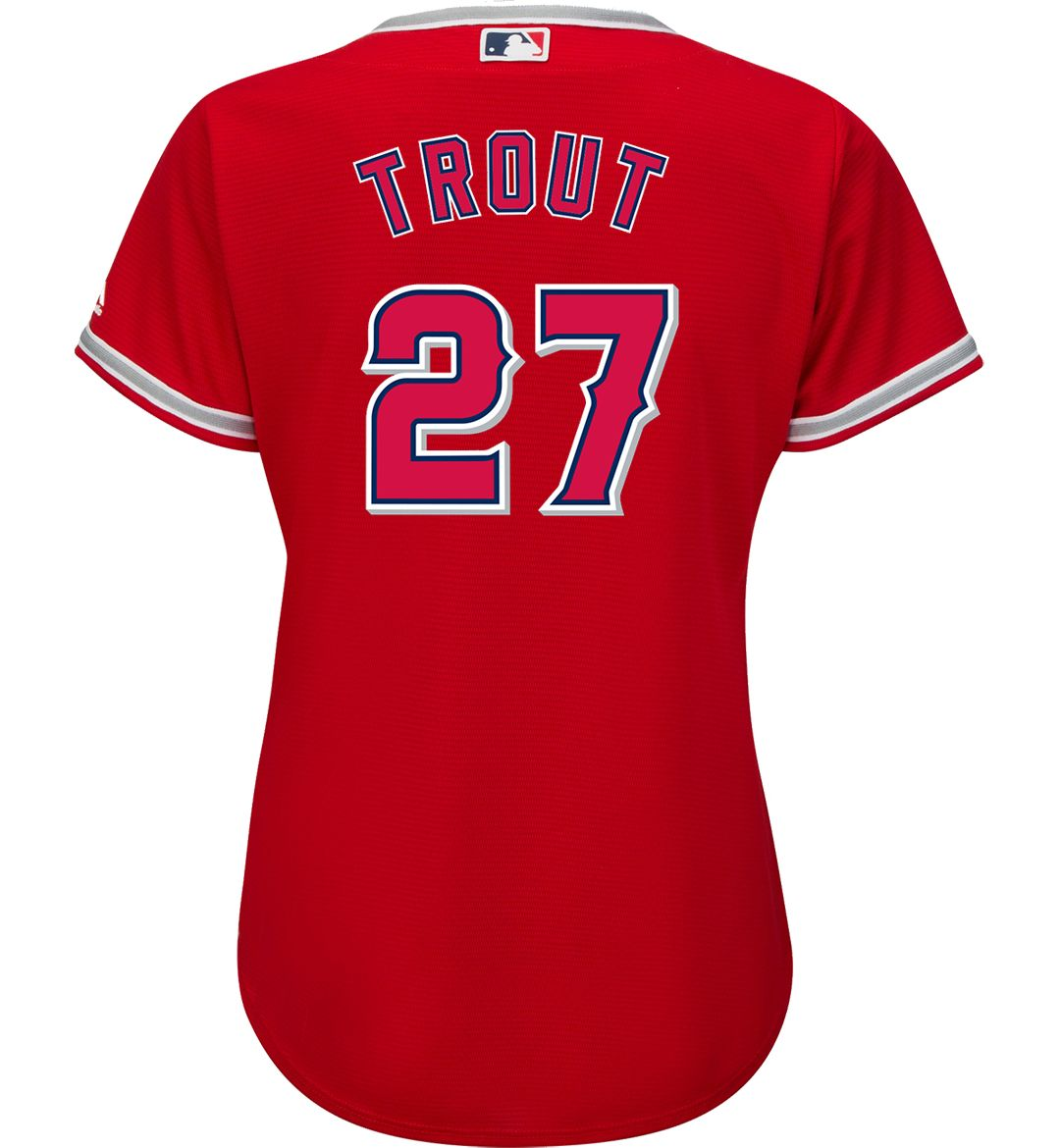 newest 2cb94 e28c3 Majestic Women's Replica Los Angeles Angels Mike Trout #27 Cool Base  Alternate Red Jersey