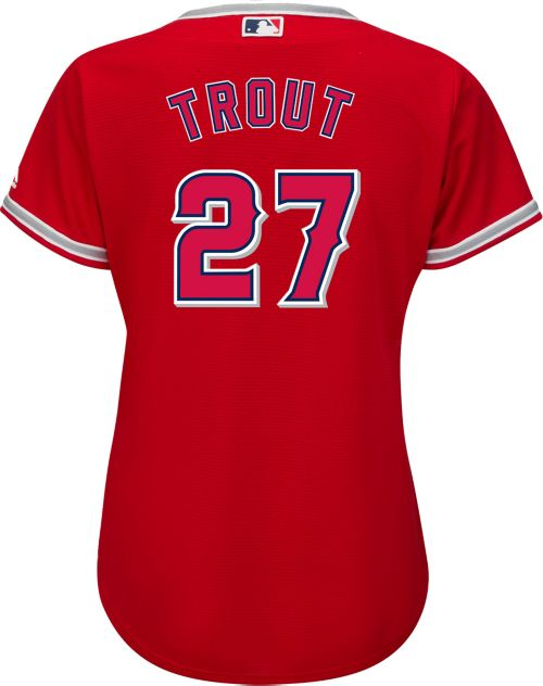 online store fe4dd 9625d Majestic Women s Replica Los Angeles Angels Mike Trout  27 Cool Base  Alternate Red Jersey. noImageFound. Previous. 1. 2. 3