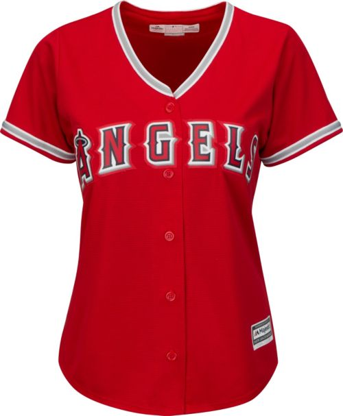 brand new aa2da d31d5 Majestic Women s Replica Los Angeles Angels Mike Trout  27 Cool Base  Alternate Red Jersey