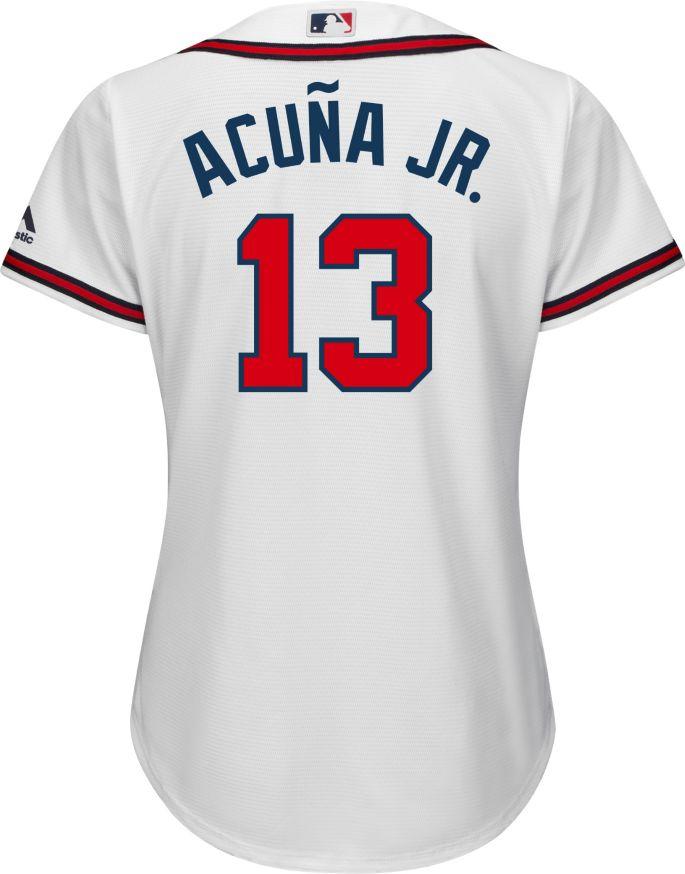 buy popular 22c31 48c02 Majestic Women's Replica Atlanta Braves Ronald Acuña #13 Cool Base Home  White Jersey