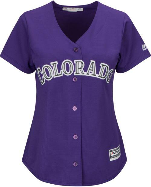 e423cab7c Majestic Women s Replica Colorado Rockies Carlos Gonzalez  5 Cool Base  Alternate Purple Jersey