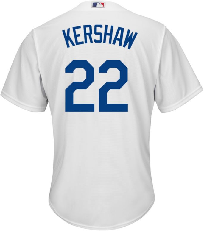 brand new d95c9 2638f Majestic Men's Replica Los Angeles Dodgers Clayton Kershaw #22 Cool Base  Home White Jersey