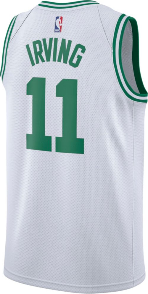 84e3854509f Nike Men s Boston Celtics Kyrie Irving  11 White Dri-FIT Swingman ...