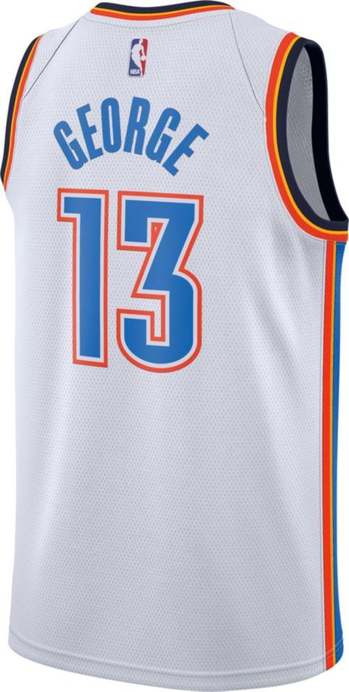 9e726efa858 Nike Men s Oklahoma City Thunder Paul George  13 White Dri-FIT Swingman  Jersey. noImageFound. Previous. 1. 2. 3