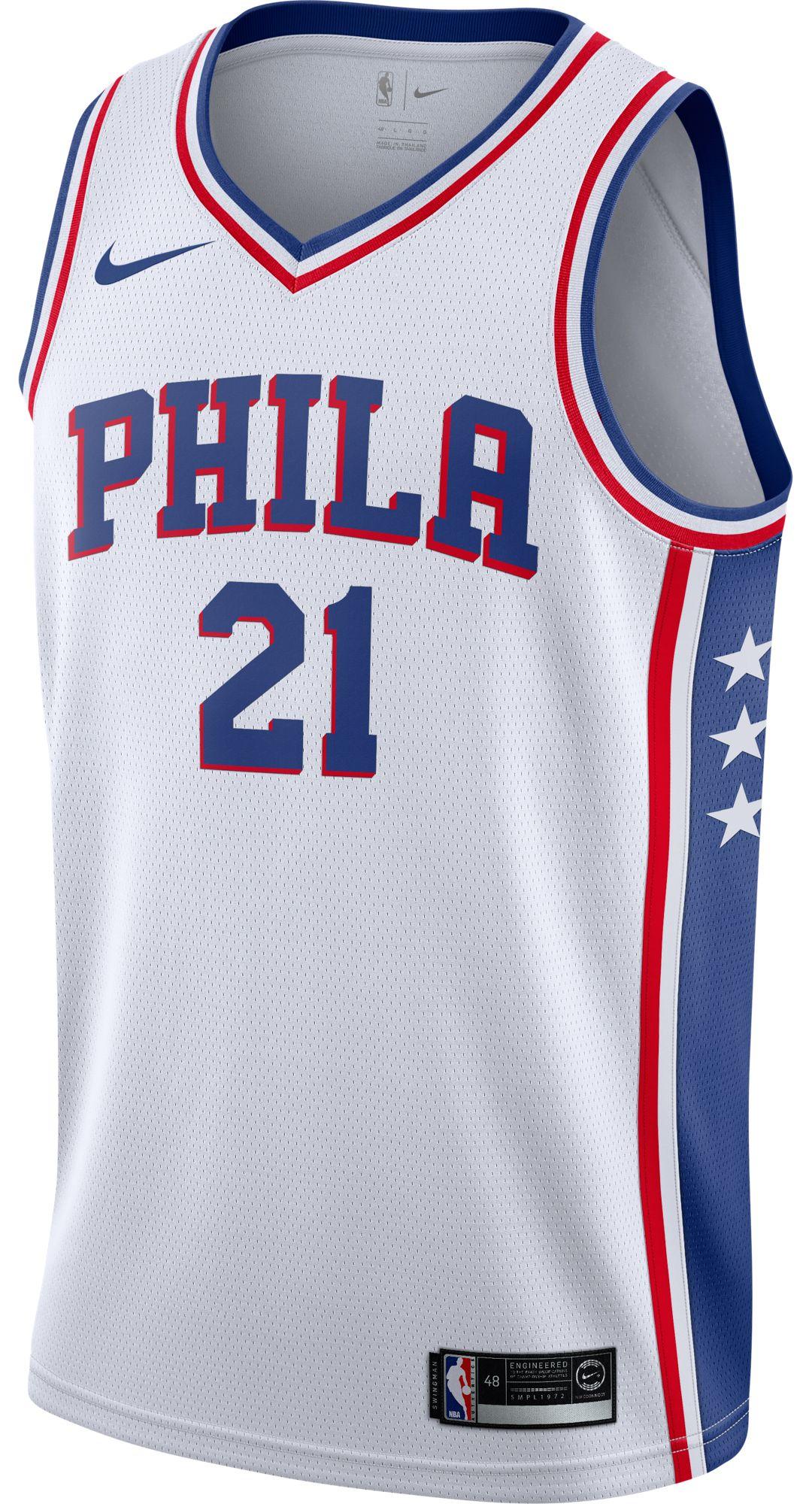 outlet store 98571 a67f8 Nike Men's Philadelphia 76ers Joel Embiid #21 White Dri-FIT Swingman Jersey