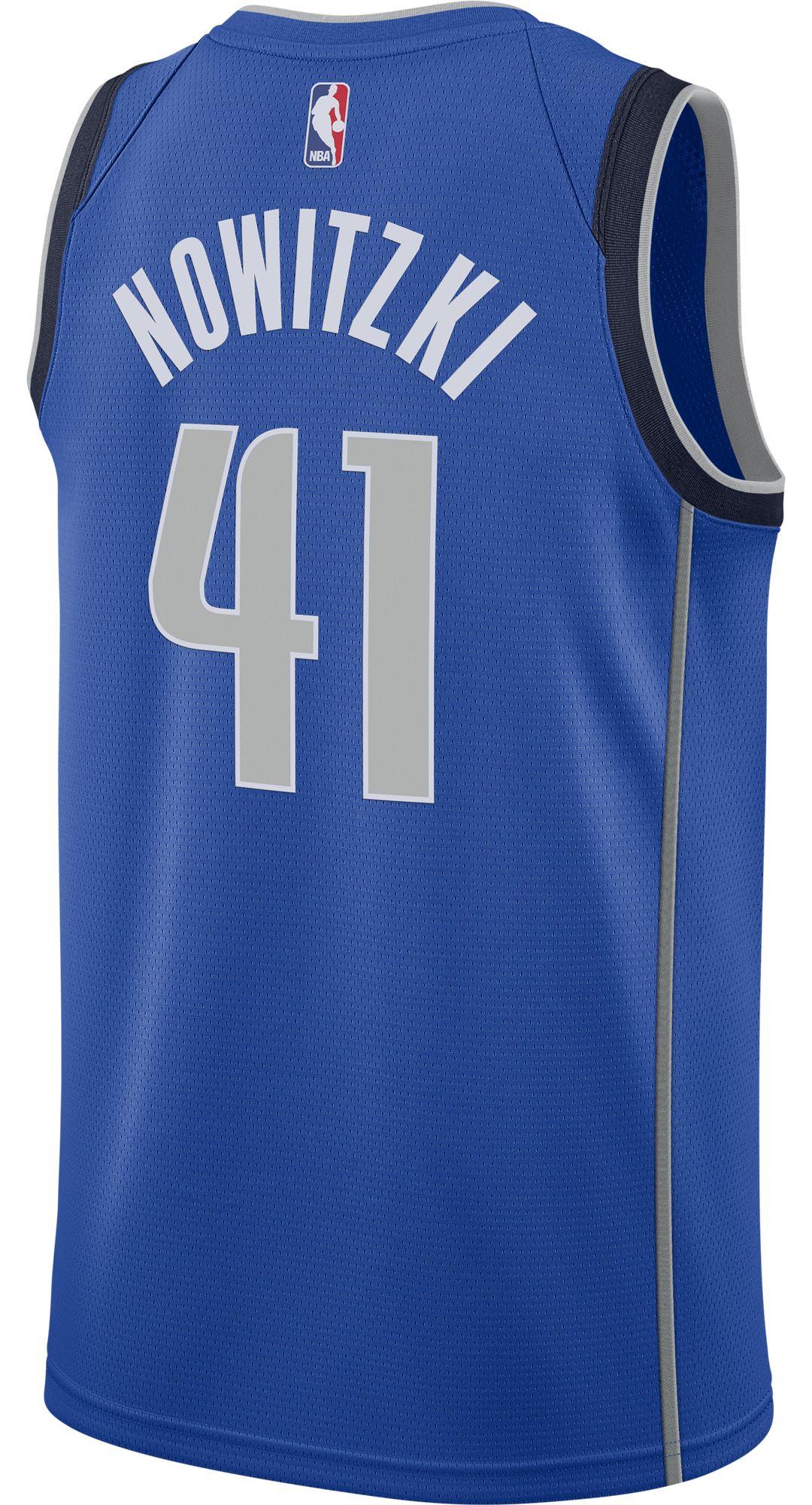 best sneakers 93584 bf88c Nike Men's Dallas Mavericks Dirk Nowitzki #41 Royal Dri-FIT Swingman Jersey