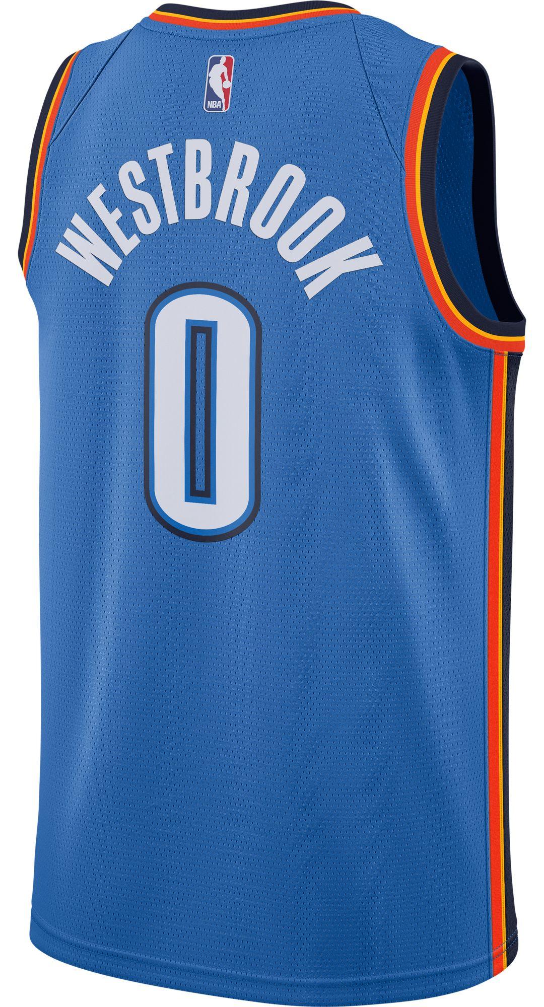 new product 1cafa 79647 Nike Men's Oklahoma City Thunder Russell Westbrook #0 Blue Dri-FIT Swingman  Jersey