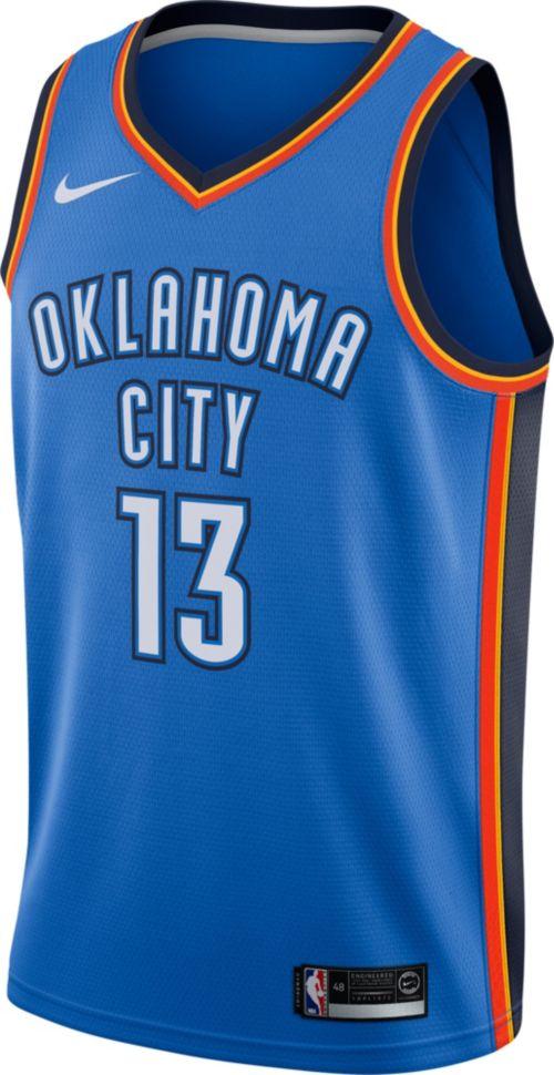 1e33fca85f0 Nike Men s Oklahoma City Thunder Paul George  13 Blue Dri-FIT Swingman  Jersey