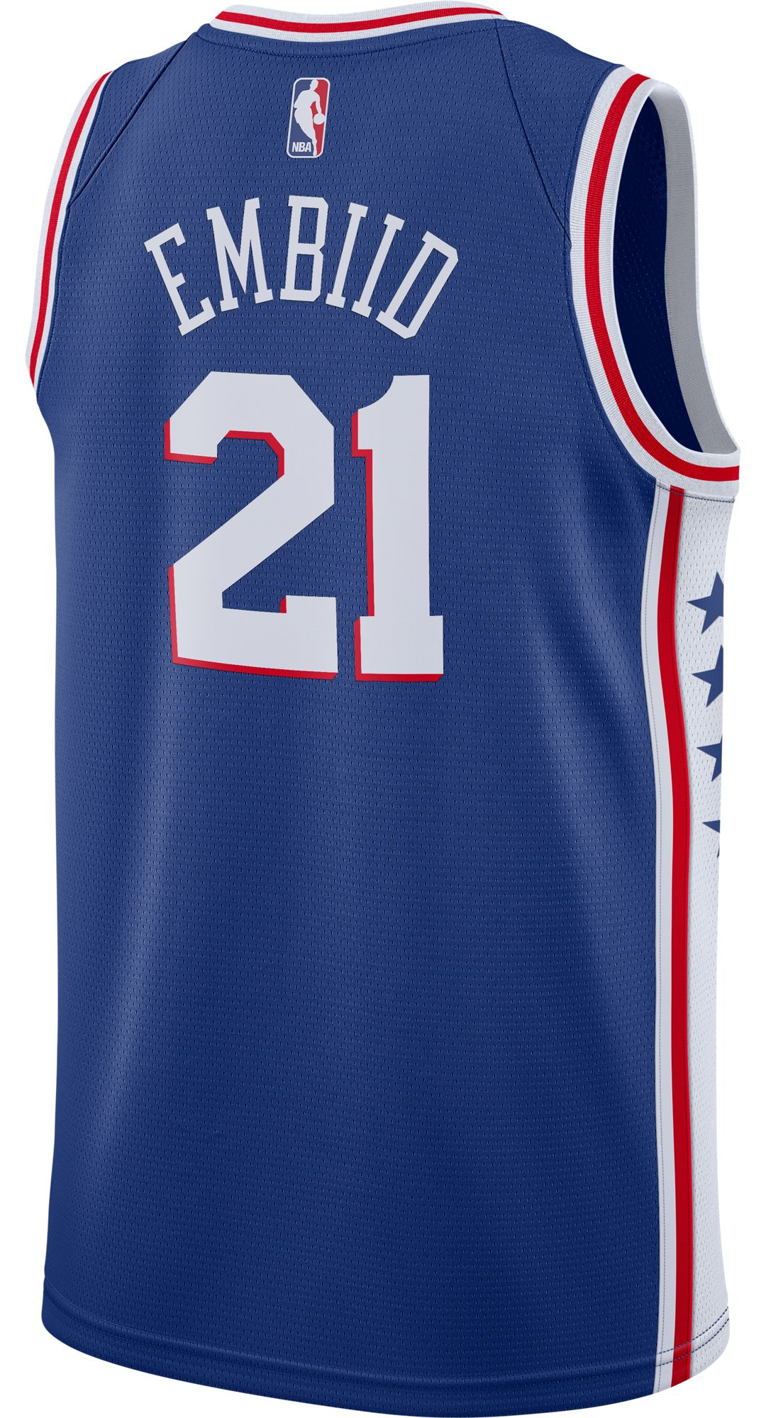 meet ca281 f64a6 Nike Men's Philadelphia 76ers Joel Embiid #21 Royal Dri-FIT Swingman Jersey