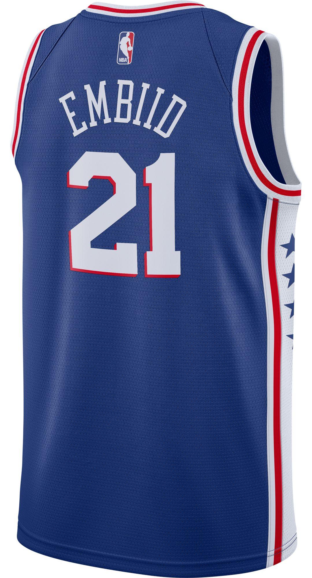 meet fa37b a4a7d Nike Men's Philadelphia 76ers Joel Embiid #21 Royal Dri-FIT Swingman Jersey