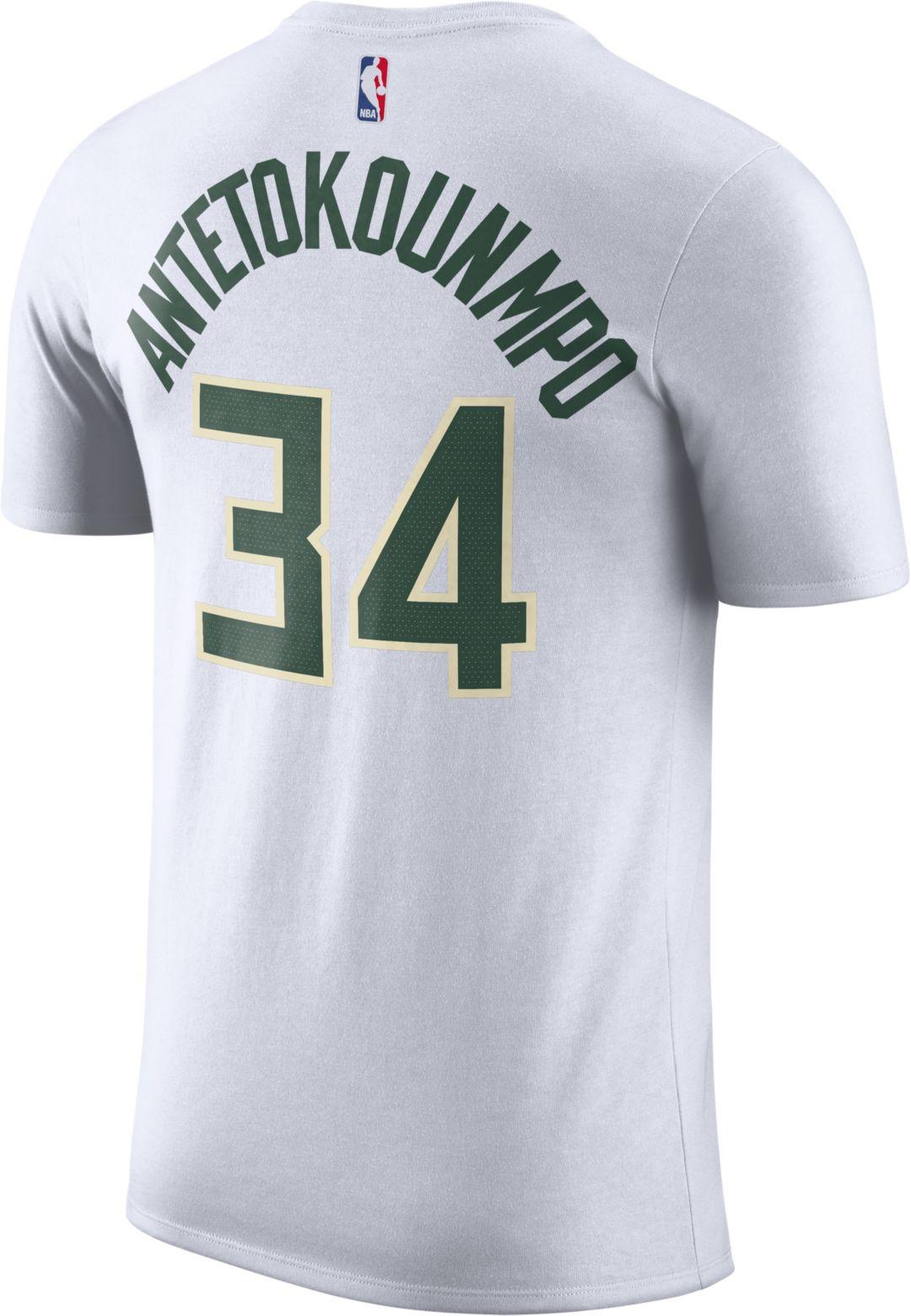 competitive price d8e44 52fe6 Nike Men s Milwaukee Bucks Giannis Antetokounmpo  34 Dri-FIT White T ...