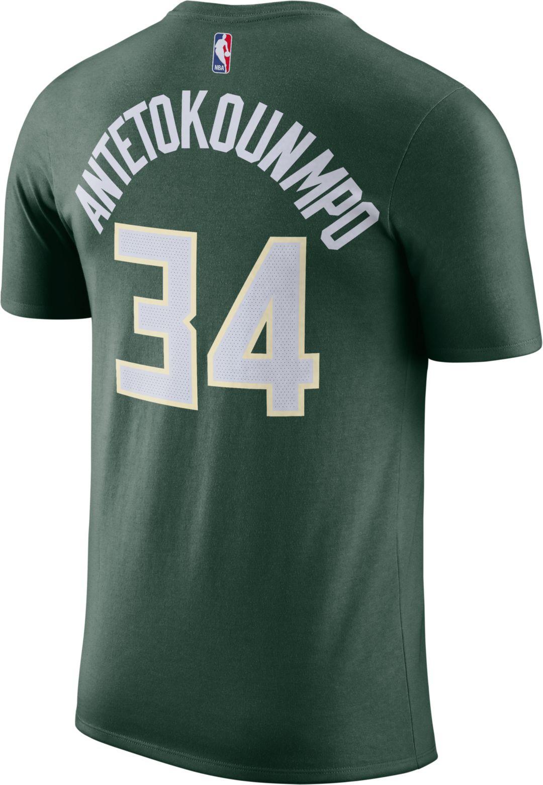 promo code 39db1 7d68f Nike Men's Milwaukee Bucks Giannis Antetokounmpo #34 Dri-FIT Green T-Shirt