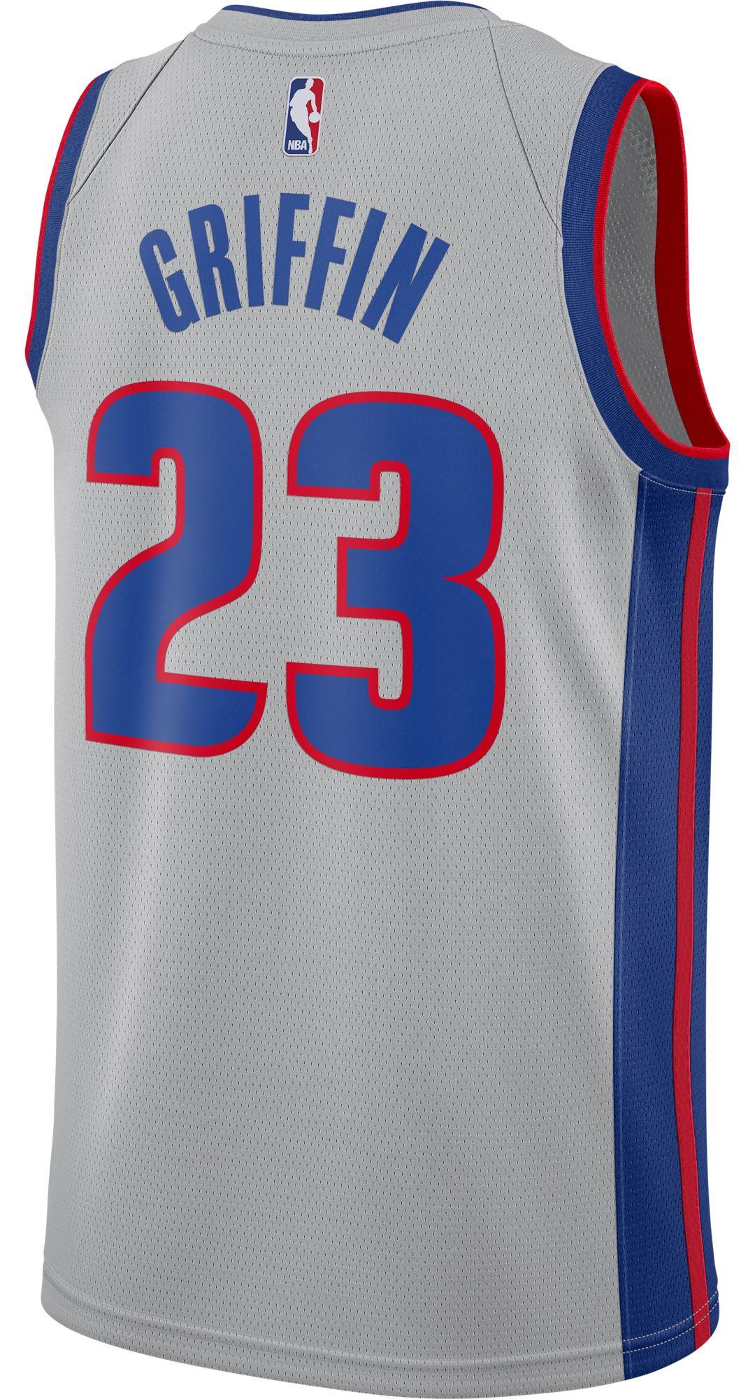brand new b018e 850ab Nike Men's Detroit Pistons Blake Griffin #23 Grey Dri-FIT Swingman Jersey