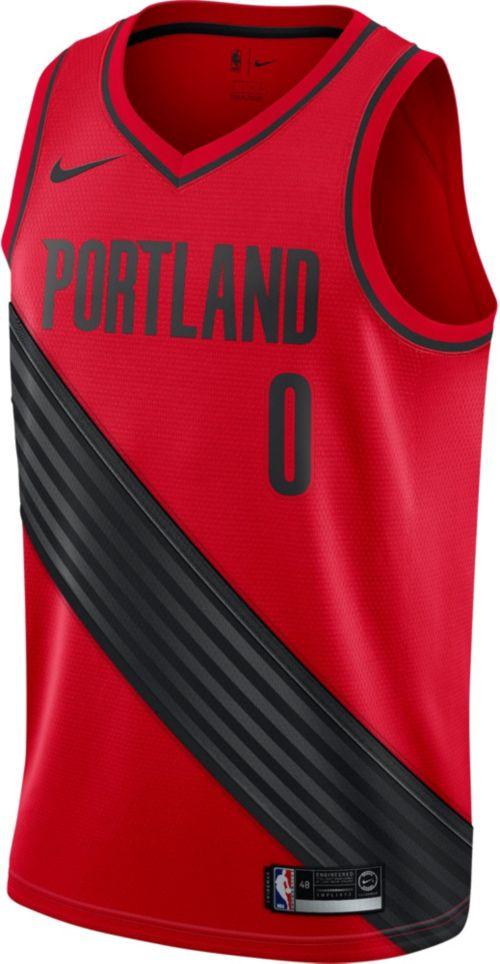 e1463bada79 Nike Men's Portland Trail Blazers Damian Lillard #0 Red Dri-FIT Swingman  Jersey. noImageFound. Previous