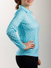 SanSoleil Women's SolCool Printed ¼-Zip Golf Pullover product image