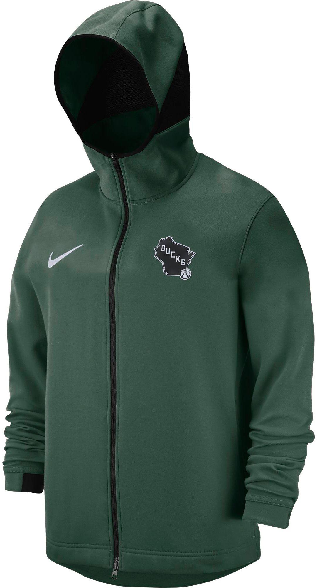 uk availability eb503 e0462 Nike Men's Milwaukee Bucks On-Court Dri-FIT Showtime Full-Zip Hoodie