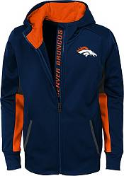 NFL Team Apparel Youth Denver Broncos Performance Navy Full-Zip Hoodie product image