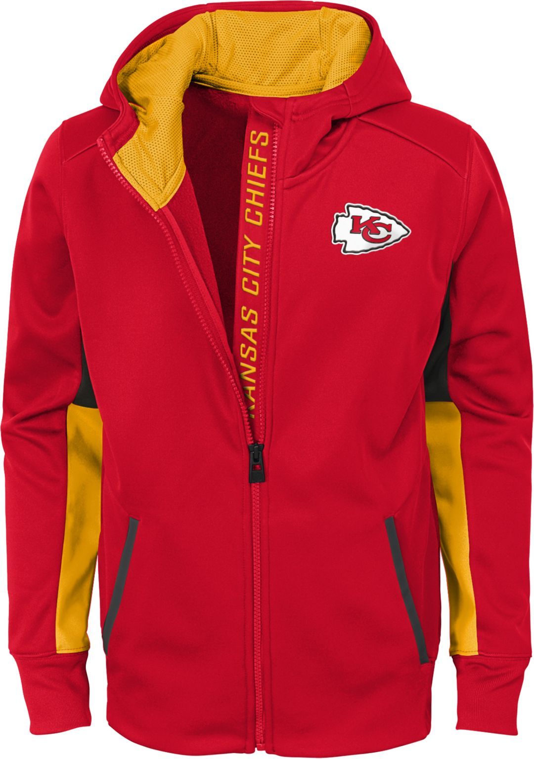 hot sale online 10cd5 ac314 NFL Team Apparel Youth Kansas City Chiefs Performance Red Full-Zip Hoodie