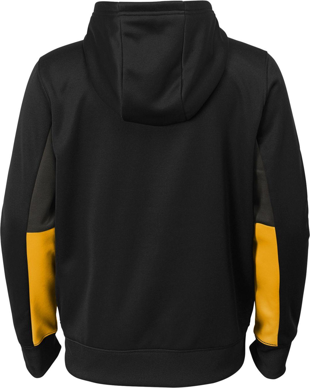 best sneakers a9b23 ebf11 NFL Team Apparel Youth Pittsburgh Steelers Performance Black Full-Zip Hoodie