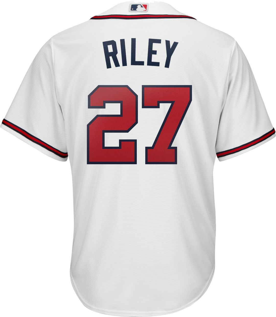 buy popular 092f7 965eb Youth Replica Atlanta Braves Austin Riley #27 Home White Jersey