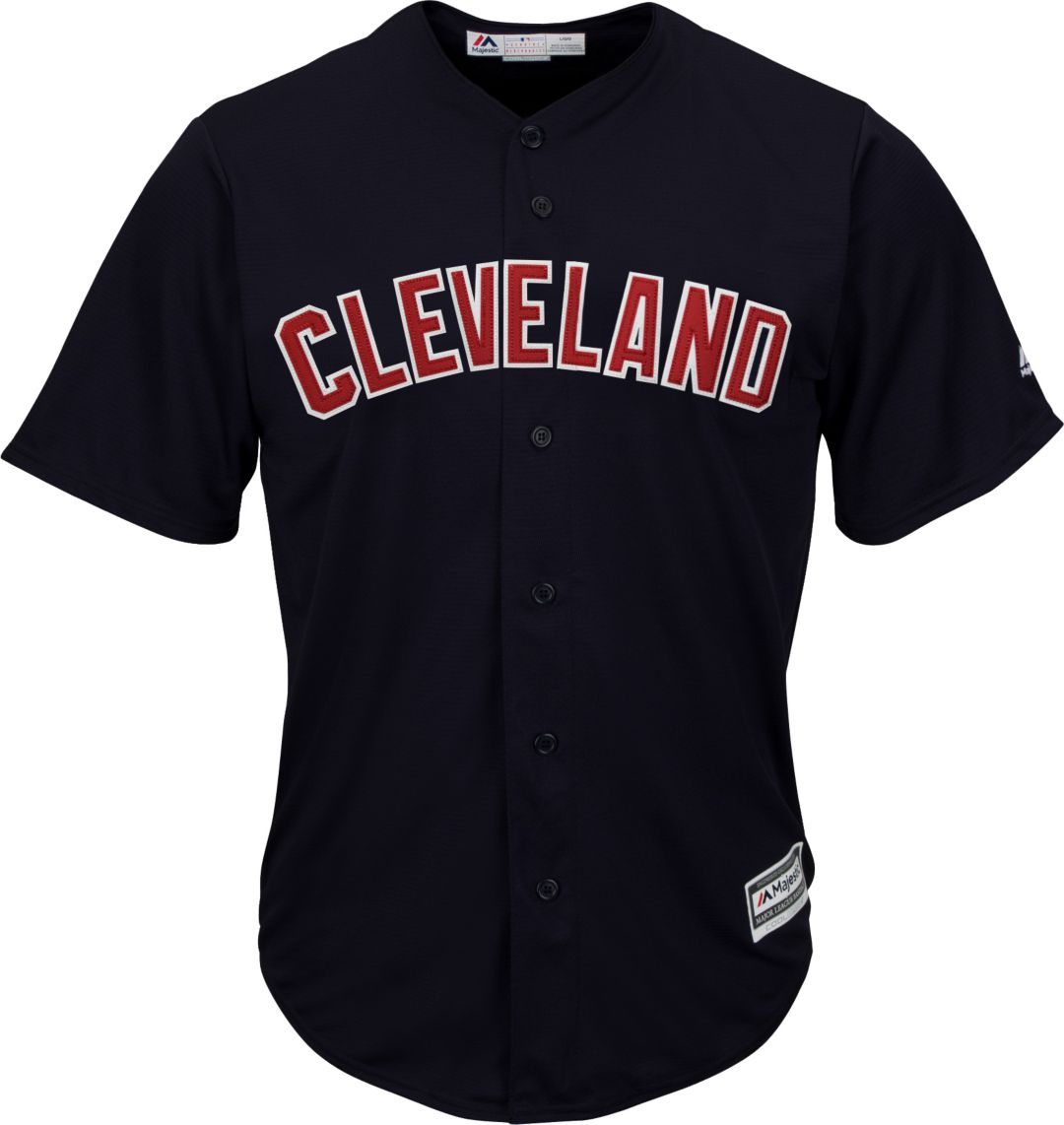 buy online b5102 57d16 Majestic Youth Replica Cleveland Indians Francisco Lindor #12 Cool Base  Alternate Navy Jersey