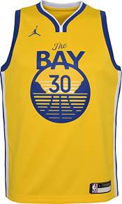 Jordan Youth Golden State Warriors Steph Curry #30 Gold 2020-21 Dri-FIT Statement Swingman Jersey product image