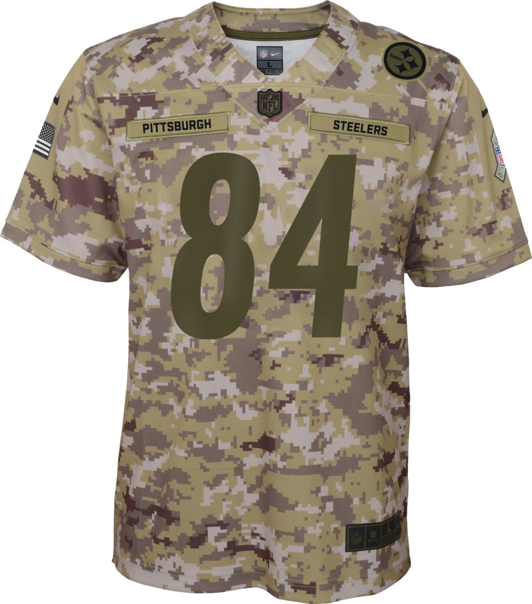 best service a91a5 5fcfa Nike Youth Salute to Service Pittsburgh Steelers Antonio Brown #84  Camouflage Game Jersey