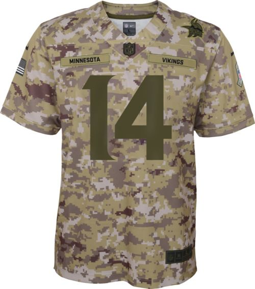 89cee99e181 Nike Youth Salute to Service Minnesota Vikings Stefon Diggs  14 Camouflage  Home Game Jersey