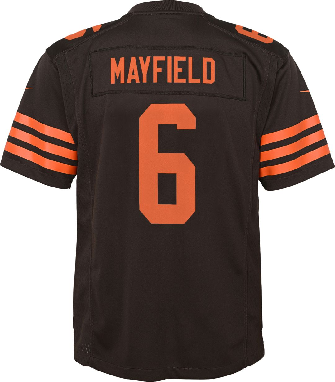 detailed look b6f8a 5544e Nike Youth Color Rush Game Jersey Cleveland Browns Baker Mayfield #6