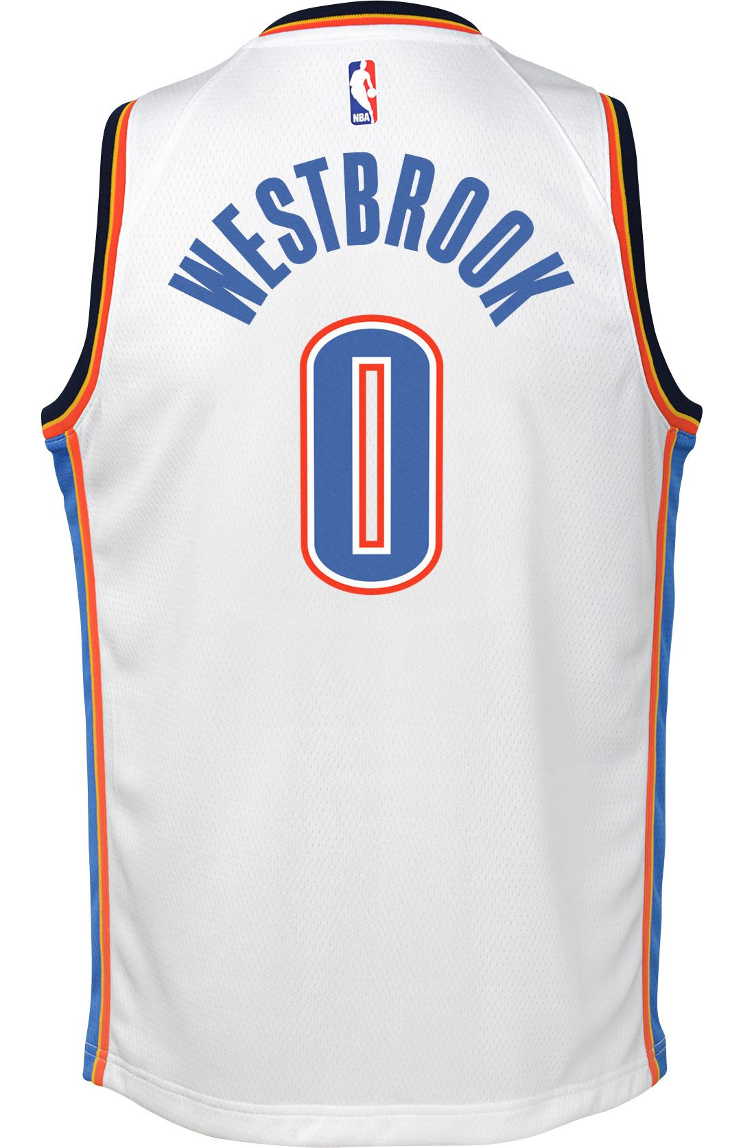 873a2a0d424 Nike Youth Oklahoma City Thunder Russell Westbrook #0 White Dri-FIT Swingman  Jersey 3