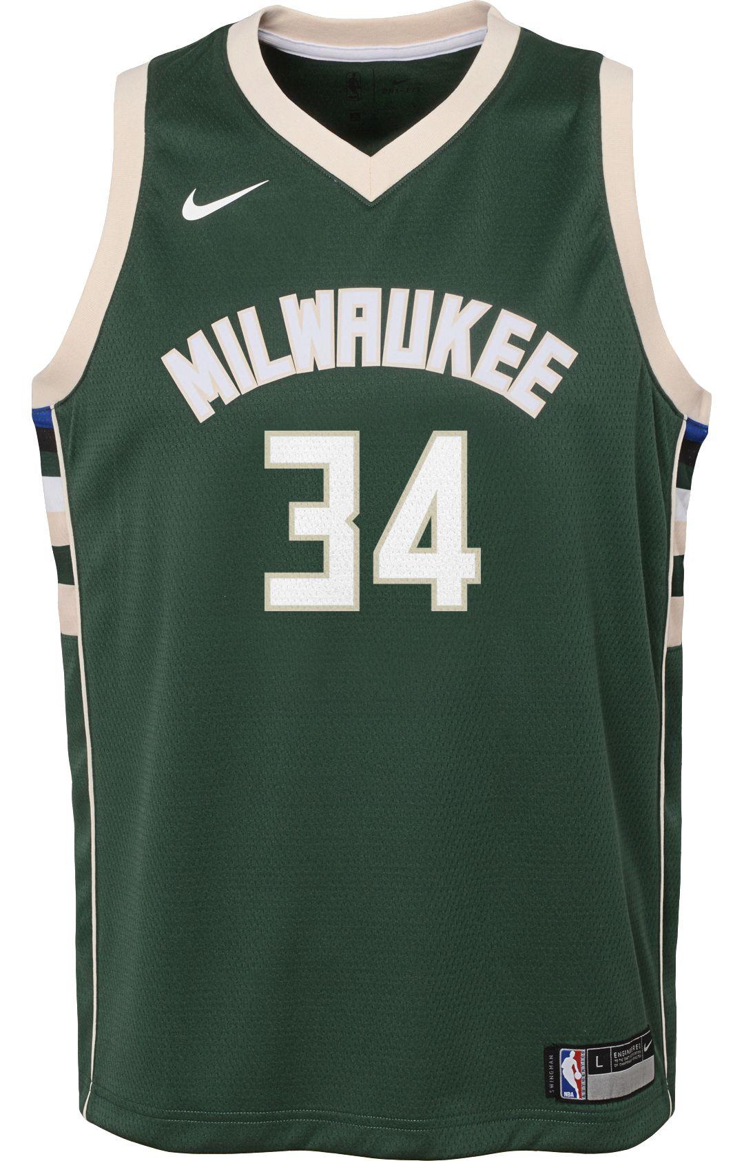 5c7d0eadf26 Nike Youth Milwaukee Bucks Giannis Antetokounmpo #34 Green Dri-FIT Swingman  Jersey 2