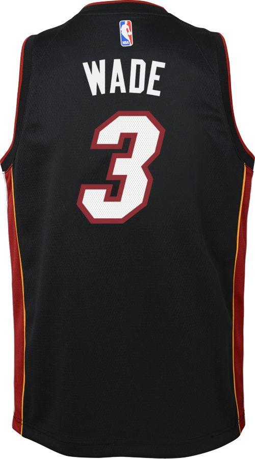 Nike Youth Miami Heat Dwyane Wade  3 Black Dri-FIT Swingman Jersey ... 663b4919b